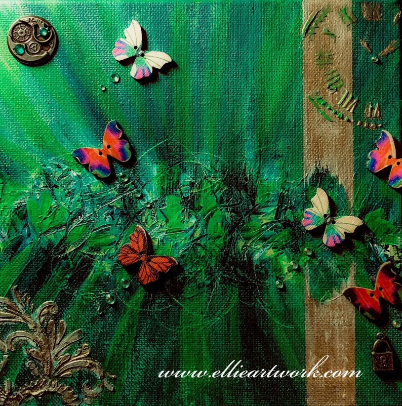 Mystical butterfly abstract painting art on canvas 3D mixed image 0
