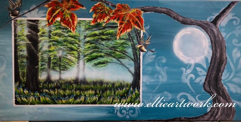 Surreal painting Morning Mist acrylic painting dusky blue image 0