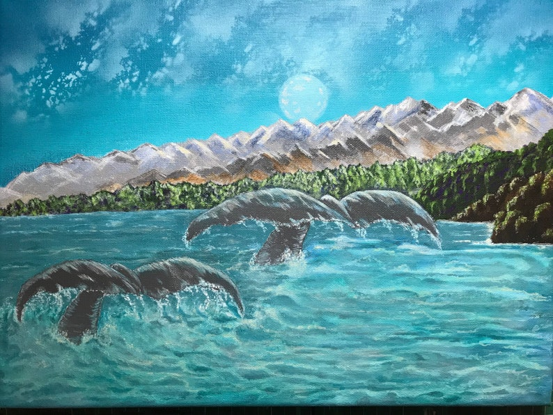 Moonlit whale tails acrylic painting image 0
