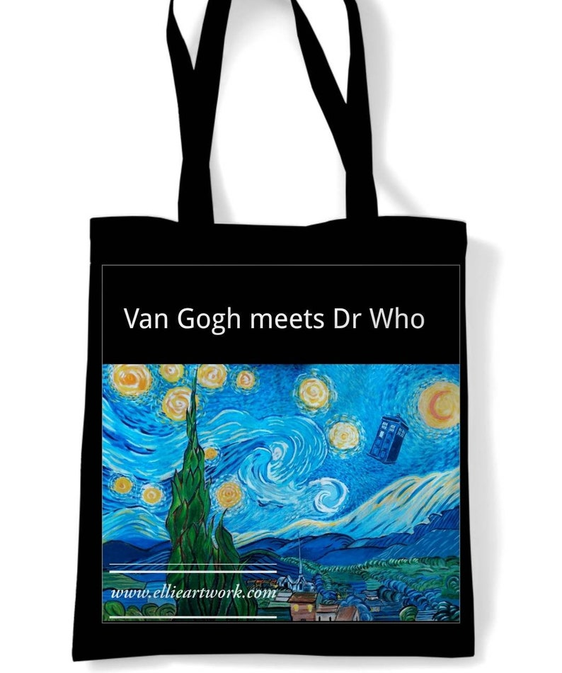 Van gogh meets Dr who tote bag image 0