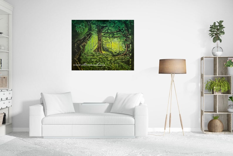 Into the Woods forest painting mystical forest painting image 0