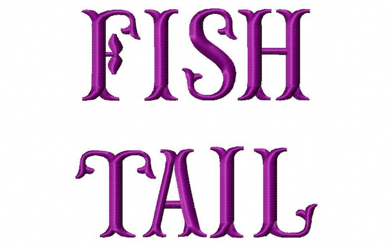 Sale! Fish tail Embroidery Fonts 3 Fonts PES Fonts Alphabets Embroidery BX  Fonts Embroidery Designs Letters - Instant Download