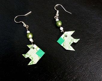 Origami fish earrings Green