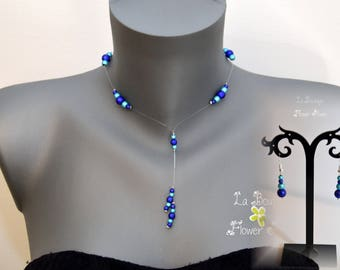 Adornment necklace fantasy and magical dark blue and turquoise - Kukui beads nylon thread