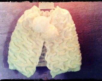 White wool Cape handmade 4t