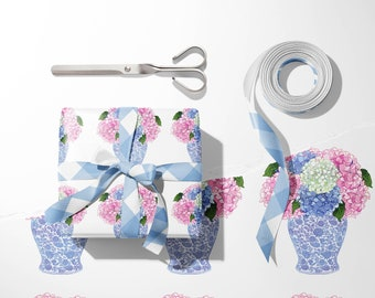 + 12 Gift Tags 3 Gift Wrap Patterns The Pink Hydrangea Pagoda Gift Packaging Suite 15 sheets
