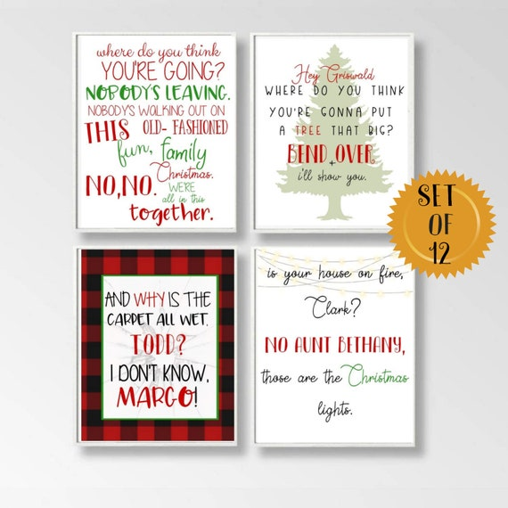 set of 12 5X7 griswold quote gift, fun old fashioned family Christmas  quote, 12 days of griswold gift set, christmas vacation decor