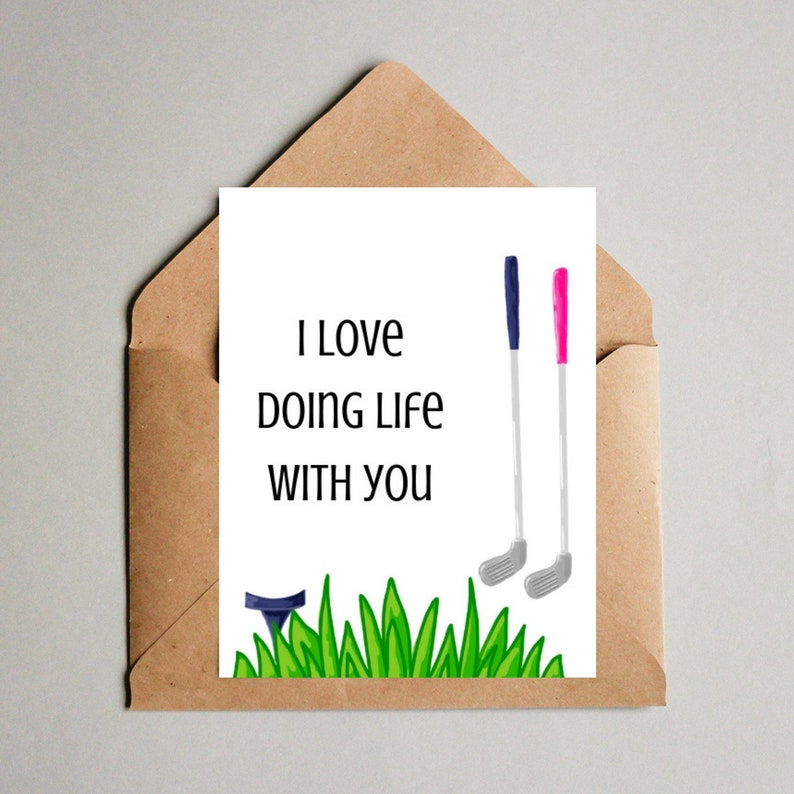 golf anniversary card, golfer gift, golf themed Love Letter, Valentines Day  Card, card for husband from wife, card to wife from husband