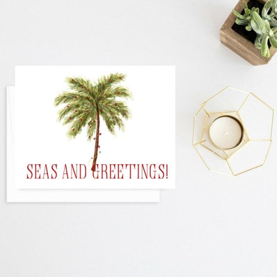 Seas And Greetings Christmas Card Palm Tree Christmas Card Etsy