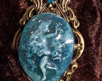Angel, blue-green, cold porcelain brooch