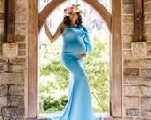 maternity dress for photo shoot, blue maternity dress for baby shower dress maternity gown for photo shoot, mermaid one shoulder mater