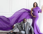 Maternity Dress for Photo Shoot Maternity Dress for Baby Shower Purple Gown