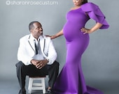 Purple Maternity Gown, Long Fitted Maternity Dress for Photo Shoot Maternity Dress for Baby Shower Baby Shower Dress Mermaid style Maternity