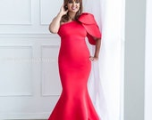 Red Maternity Dress for Photo shoots and Photography Mermaid Style Long Gown for Photo Shoot One Shoulder Red Tulip Dress for Baby Shower