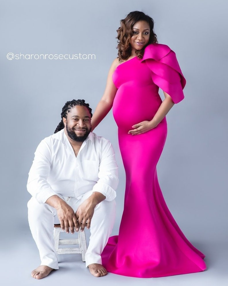 b95de298a9 Fuchsia Pink Maternity Dress for Photo Shoot One Shoulder