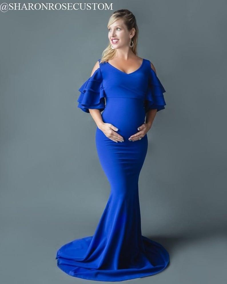 8fdd671209e Royal Blue Ruffled Maternity Dress Pregnancy Maternity Gown