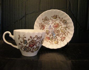 Staffordshire Bouquet Brown Multi-color tea cup and saucer