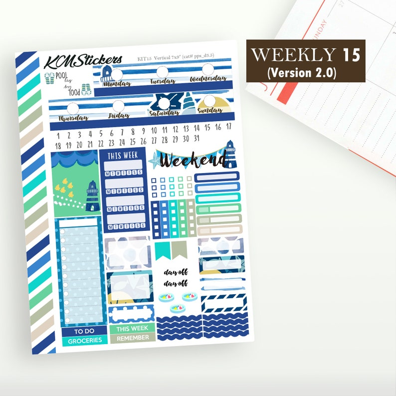 KIT 15 Weekly Kit (version 2 0)* for Weekly Spread, Plum Paper Planner,  Ocean Blue Kit, Plum Paper Stickers (#ppt,s,l_d3 5)