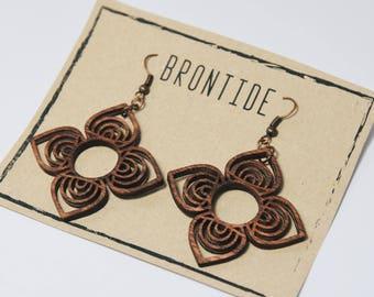 Laser Cut Wooden Earrings - Boho Earrings - Eco Friendly Jewelry - Large Earrings - Free Shipping - Bohemian earrings - Boho Chic earrings