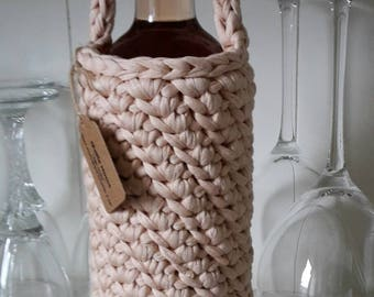 CLEVER! Bottle cover, socks, beige, violet bottle bag