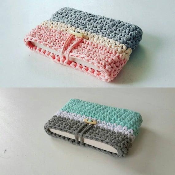 Protège Livre Au Crochet En Trapilho Bleu Blanc Gris Rose