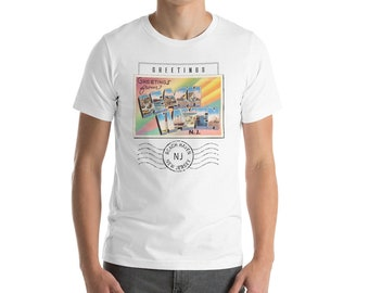T Shirt – Beach Haven NJ Greetings To You From New Jersey Big Large Letter Postcard Retro Travel Souvenir Tshirt