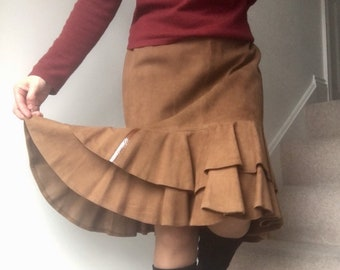 Pierre Balmain for El Corte Ingles brown suede suit skirt size14uk 44 46 eu  spanish flamingo layered skirt knee length leather buttons 940acd7e84cd