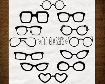3782980b47f6 12 Glasses Clip art Silhouette Bundle