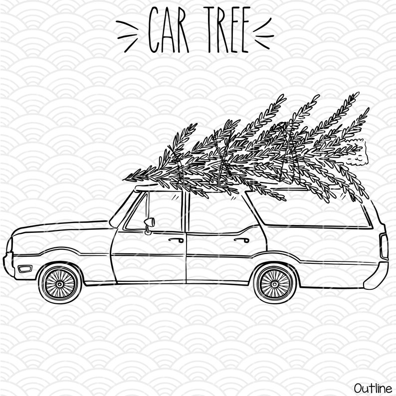 Station Wagon Christmas Tree Clip Art Hand Drawn Old Car