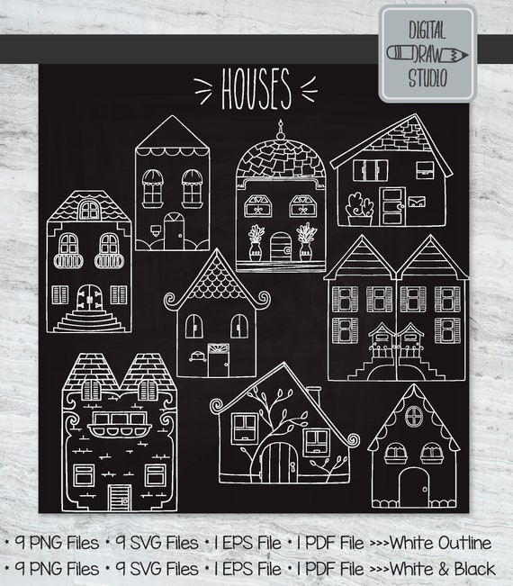 9 White Houses Clip Art Hand Drawn Home City Building Etsy
