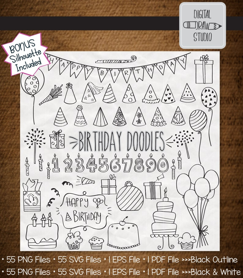 55 Birthday Party Clip art Bundle | Hand drawn Balloons and Banners Outline  Drawing | Cakes and Candles Graphic Vector | Png Eps Pdf Svg