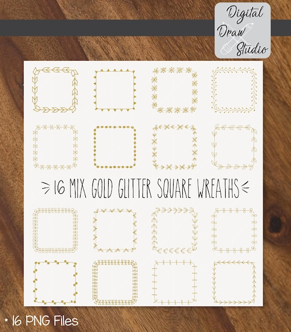 16 Gold Glitter Square Wreaths PNG Hand Drawn Frame Vector