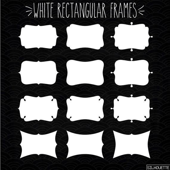 48 White Rectangular Frames Clip Art Bundle Decorative White | Etsy