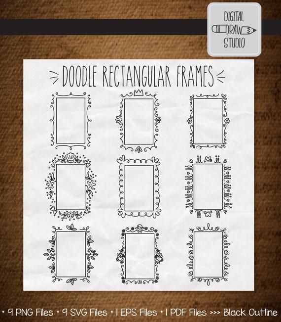 9 Rectangular Frames Clip Art Bundle Hand Drawn Decorative Etsy