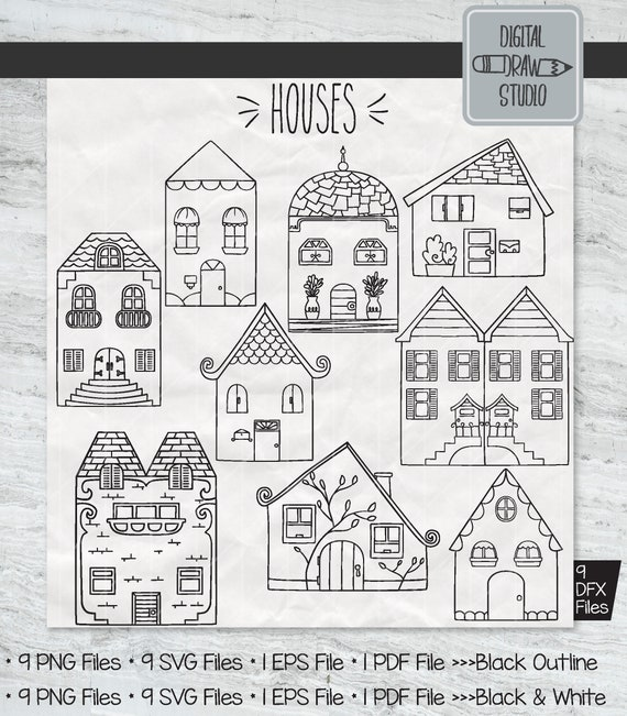 9 Houses Clip Art Hand Drawn Home City Building Outline Etsy