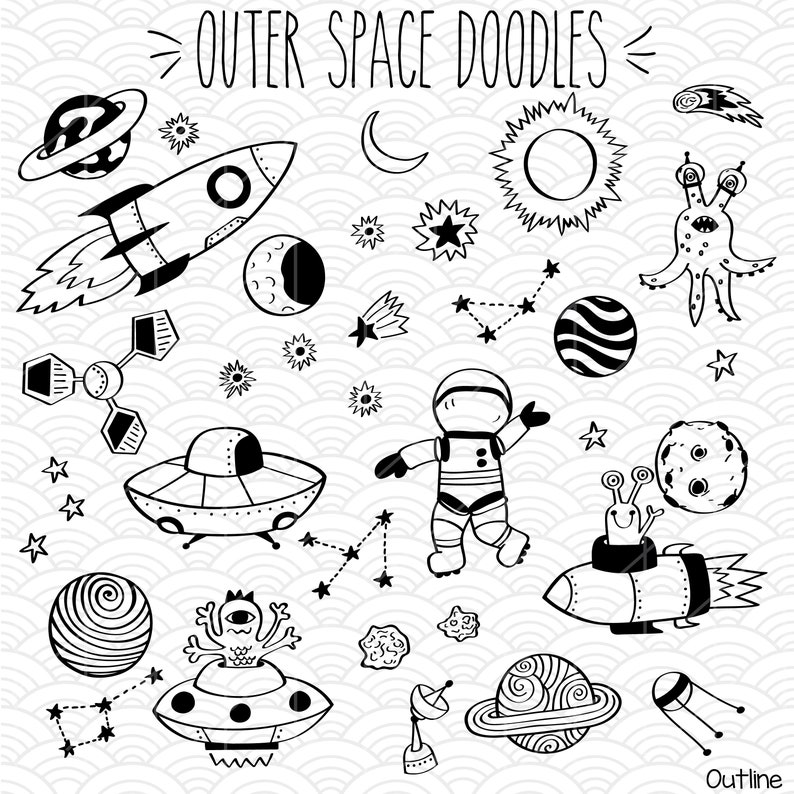 35 Outer Space Clip Art Bundle Hand Drawn Planets Vector