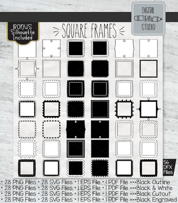 Retro Labels /& Fancy Decal Bundle Silver Glitter Rectangle Frames Clip art Printable Png Hand Drawn Border Outline Stickers