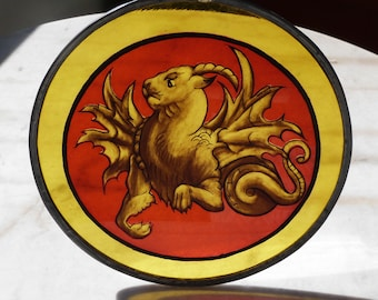 stained glass yellow strap lion painting