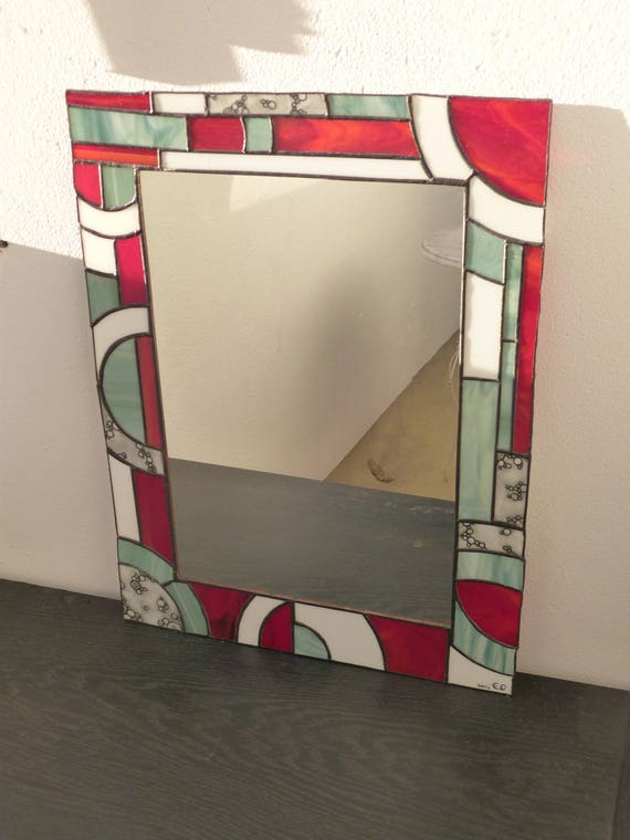 Miroir Vitrail Modeles miroir vitrail art déco noir blanc et rouge | etsy