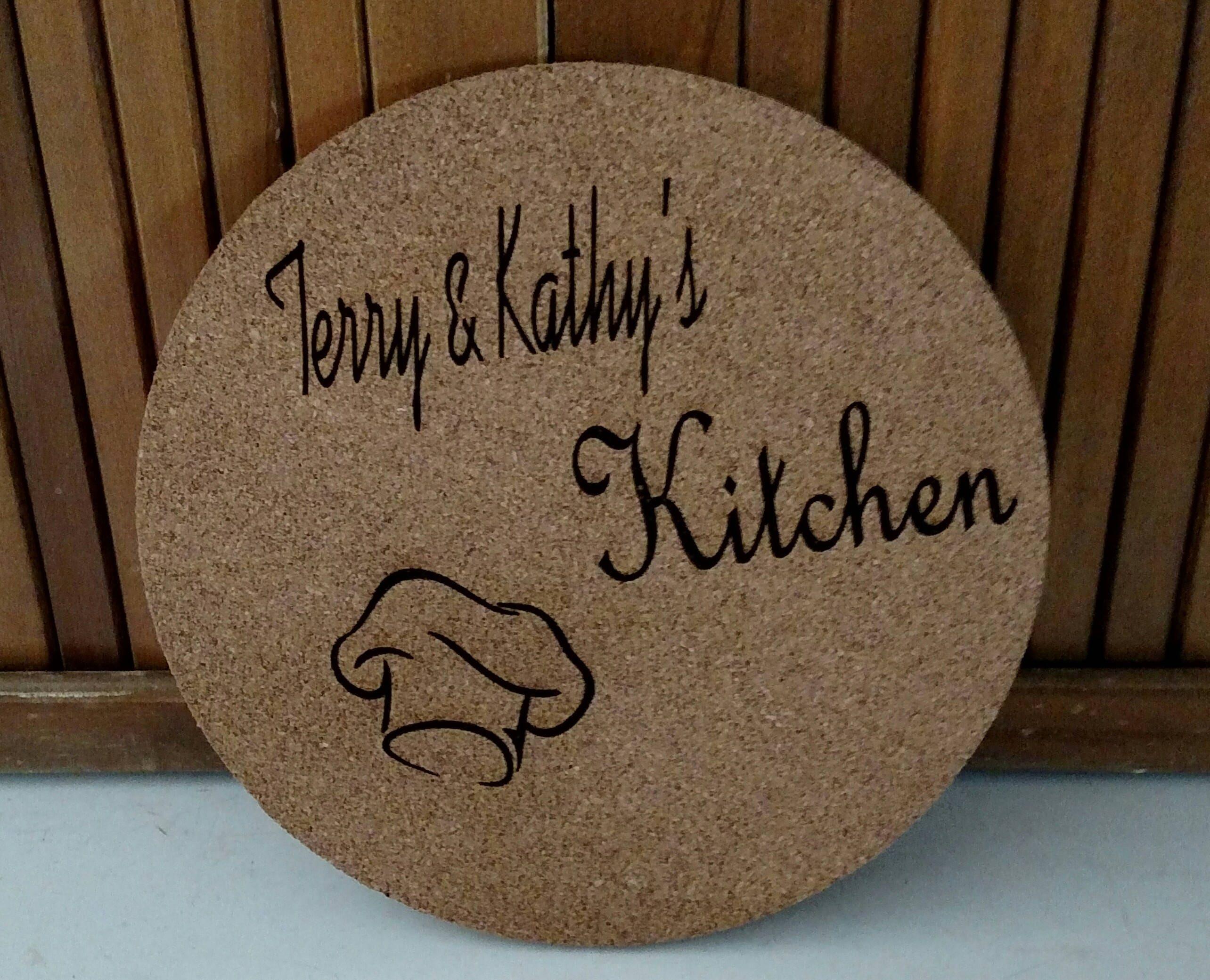 Küche-Untersetzer. Cork.Laser graviert benutzerdefinierte
