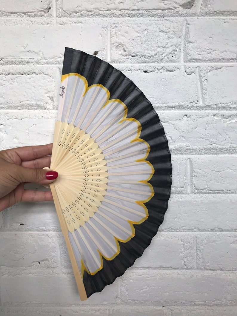 Gift for Her Folding Fan Handfan Pool Side Beach Wedding Gift for Mom Great Accessory for Outdoor Wedding B/&W Hand Painted Hand Fan