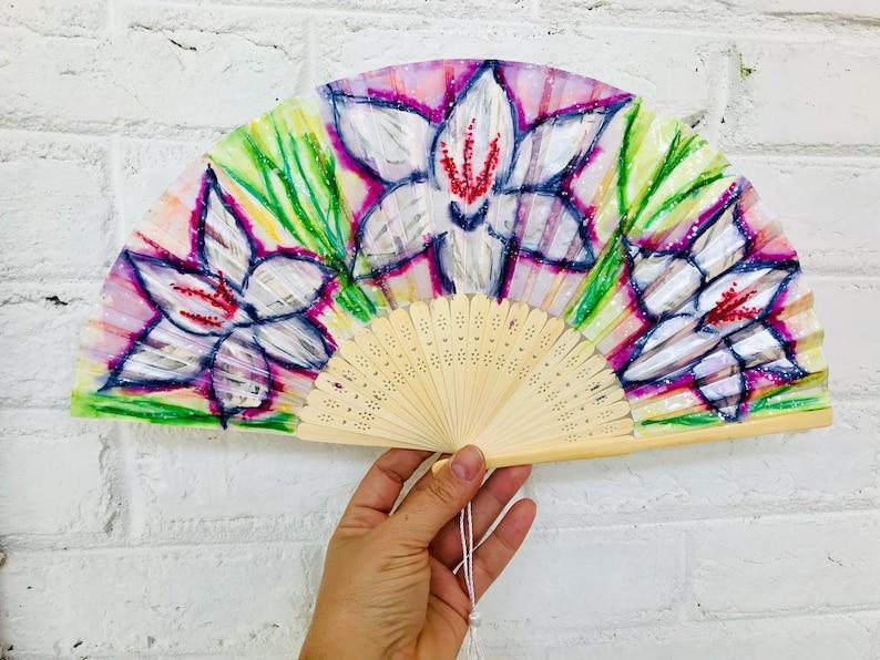 Spring Flowers Hand Fan - folding fan hand fans weddings hand fan spanish  silk hand fan wedding fan hand held fan church fan free shipping