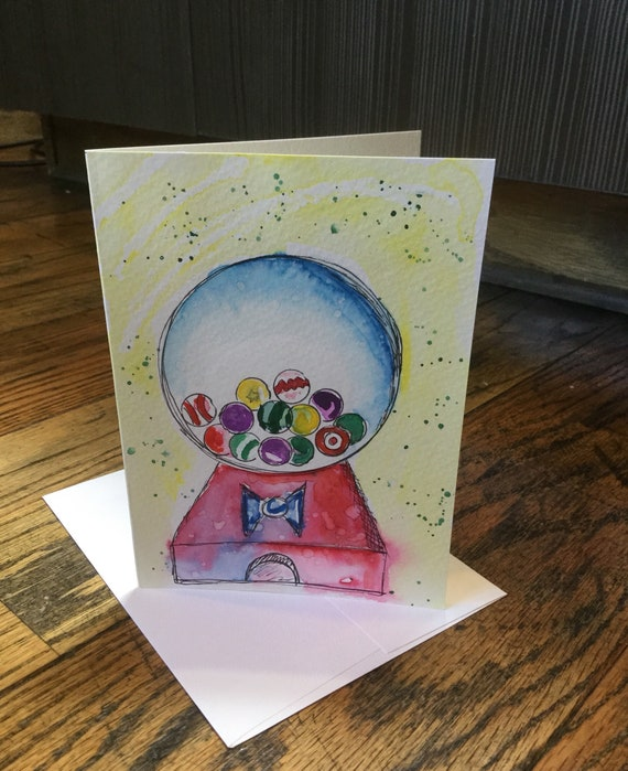 Original watercolor greeting cards gum balls hand painted etsy image 0 m4hsunfo