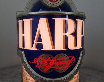 Vintage display with interior light for harp irish lager
