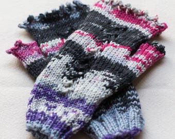 Fingerless Hand Knit Gloves, Purple Mitts, Multi Coloured Hand Knitted Wool Mittens, Hand Warmers, Gift for Wife, Texting Gloves