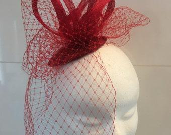 Galliane red sinamay Hat Cap