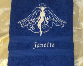 Personalised Embroidered Angel of Light Towels, Hand & Bath Towels