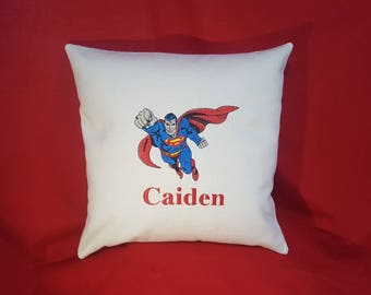 Personalised Embroidered Superman Cushion {Price  Reduced }