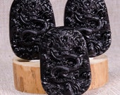 Clear Black Obsidian Hand Carved Dragon,Sculpture of the Dragon Carving,Black Obsidian Crystal,Decor,Reiki,Necklace,Pendant