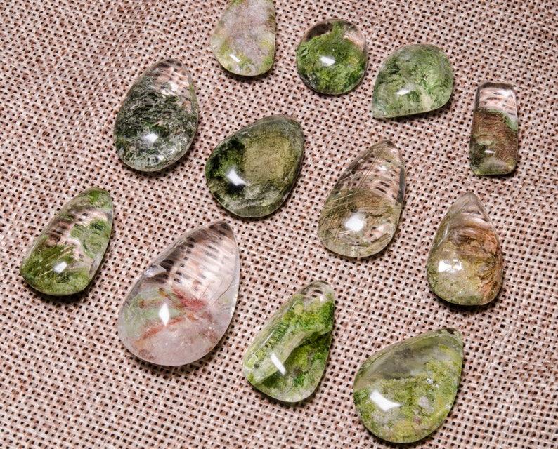5 pcs Garden Quartz Pendant,Scenic Quartz Pendant,lodalite,Crystal Necklace,Rainbow Inclusions,Shaman Quartz,Gift for Her,Jewelry,Undrilled